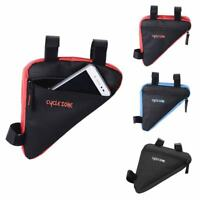 Sports Bicycle Bike Storage Bag Triangle Saddle Frame Strap-On Pouch for Cycling
