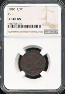 1810 Classic Head Half Cent C-1 NGC XF 40 BN