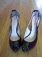 GUESS pinup Black Patent leather peep toe stilettos cutout heels sz 7.5