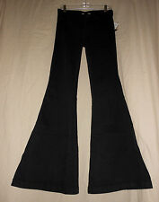 FREE PEOPLE W 27 NWT Black Denim Stretch Bell Bottom Flare Jeans Hippie 27X33