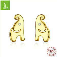 925 Sterling Silver Earrings Cute Elephant Gold Plated Ear Stud Fashion Gifts