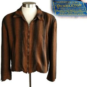 1950s Vintage Pendleton Gradation Stripe Wool Zip Front Ricky Jacket XL
