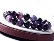 Gemstone Round Beads Stretchy Bracelet 8mm Natural Purple Stripe Agate Onyx