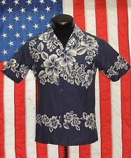 VTG Hillo Hatties Hawaii Hawaiian Aloha Shirt Hibiscus Floral Tiki Luau Navy