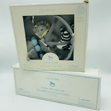 New listing Pottery Barn Knit Animals Nursery Mobile & White Arm Musical Lion Zebra Elephant