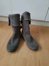 UGG Ladies Lovely Grey Knitted Comfortable Boots  Size UK5,5 /EU38 VGC!