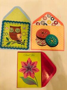 papyrus cute blank cards - felt donut, glitter owl - thank you card flower