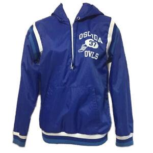 Vintage Champion 1/4 Zip Windbreaker Track Jacket Womens XS Blue Oscoda Owls USA