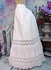 ANTIQUE Victorian Edwardian SKIRT white LINEN crochet LACE embroidery BUSTLE S-M