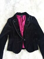 White House Black Market Black Velvet Blazer Lined One Button Sz 4