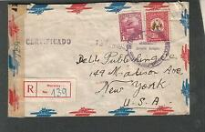 Wwii registered censor cover Winston Hoyle Maracay via Miami to Dell Pub Co Ny