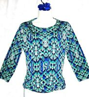 Women's Chico's Career Green Blue Print Layered 3/4 Sleeve Top 0 Small