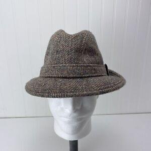 Pendleton 100% Virgin Wool Herringbone Fedora Hat Size 7 1/8 Tweed Made In USA