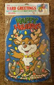 Vtg 🎄🦌 CHRISTMAS🦌🎄 Happy Holiday YARD GREETINGS Mello Smello sign reindeer