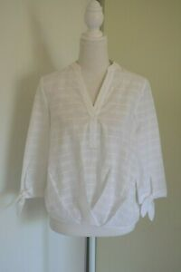FOREVER NEW Tuck front tie sleeve shirt White Size 4 New 100% cotton
