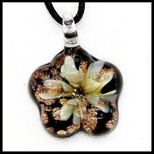 Fashion Women's Flowers lampwork Murano art glass beaded pendant necklace #M231