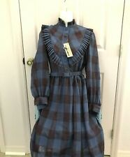 NEW Clement Laid Plaid Dress Pleats Cuffs Button to Waist Size 6 Long Sl Belt