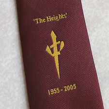 SCHOOL TIE THE HEIGHTS PUBLIC RETRO VINTAGE COMMEMORATIVE 1955-2005 BURGUNDY