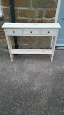 H80 W80 D20cm BESPOKE UNTREATED CONSOLE HALL BEDROOM TABLE 3 DRAWER 1 SHELF