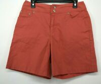 Chicos Womens Salmon Flat Front Comfort Fit 2-Button Stretch Denim Shorts 1.5