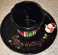 GRASSLANDS ROAD  Snowman/Top Hat Christmas Chip & Dip/Cheese & Crackers Bowl NEW