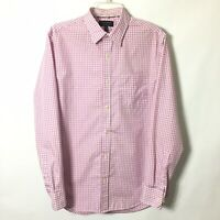 Banana Republic Classic Fit Mens Medium Pink Check Long Sleeve Button Shirt