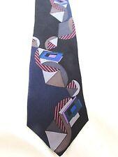 BUGATTI Geometric Abstract Black Blue Men's 100% Italian Silk Tie