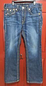 TRUE RELIGION size 36 denim blue 5 pocket RICKY BIG T straight leg jeans USA