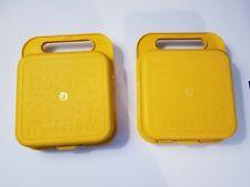2 TUPPERWARE TupperToys stencil cases (gold lunchbox) No Stencils yellow