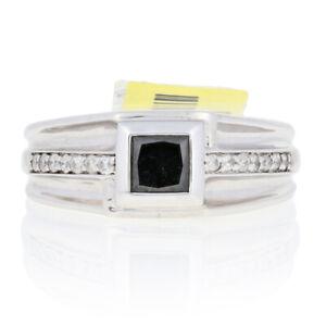 Sterling Silver Black Diamond Ring - 925 Princess Cut 1.20ctw Men's