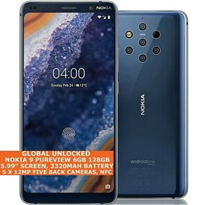 """NOKIA 9 PUREVIEW TA-1082/A-1087 6gb 128gb Five Cameras 12mp 5.99"""" Android One 4g"""