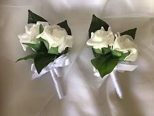 2x White Foam Rose Wedding flower Bridal Corsages or double Rose Buttonholes