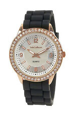 Ladies Chunky Black Boyfriend Watch Silicone Big Crystal Face Rose Gold Relojes