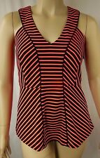 City Chic Fluro Orange Black Stripe Racer Peplum Top Plus Size XS 14 BNWOT CC827