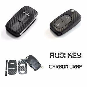 Audi Key Carbon Black Decal Sticker Fob Keyring Overlay A1 A3 A4 A6 TT S Line