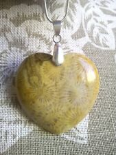 Beautiful Heart Shape Fossill Agate Pendant with Chain. Free P&P