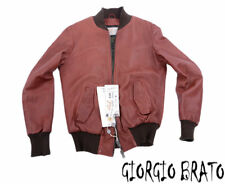 WLG BY GIORGIO BRATO Mens Genuine Leather Bomber Jacket Size 48 Winter Outwear