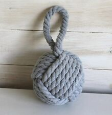 Coastal Grey Rope Ball Nautical Door Stop  *  Shabby Chic