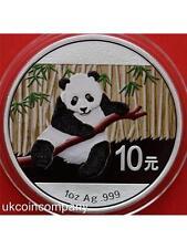 2014 China Panda 1oz PLATA BU 10 yuanes MONEDA en cápsula de color