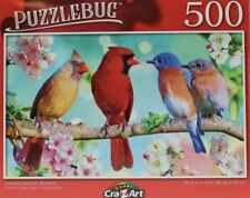 "New Puzzlebug 500 Pc Puzzle. CARDINALS MEET THE BLUEBIRDS. 18.25x11"". New/sealed"