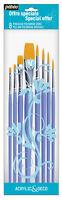 Pebeo Art & Craft Paint Brush Round & Flat Set of 8 for Deco & Acrylic
