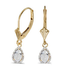 10k White Gold PEAR Blue Topaz and Diamond Leverback Earrings