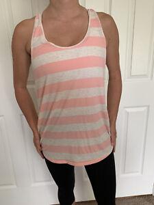 Lululemon Size 10 Om Racerback Tank Top White Pink Striped Lightweight Cotton