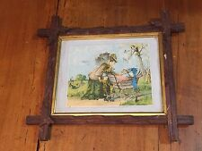 Antique Framed Color Lithograph Mother and Children Baby in Carriage