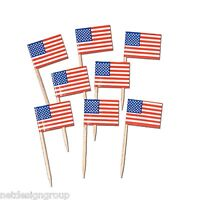 2 Boxes Of 50 (100) American Flag Picks- Dinner- Cupcake Flags- Free Shipping!
