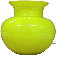 Alicija Round Yellow Glass Flower Vase With Wide Neck Table Top Vase