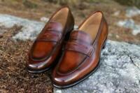 Chaussures habillées mocassins en cuir marron véritable pour hommes faits à la
