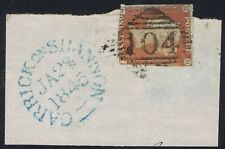 1841 1d Red-Brown CI CARRICK ON SHANNON Irish '104'  Good Used