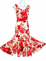 Summer dress 14 pink floral midi fit flare lined occasion casual Cotton VGC