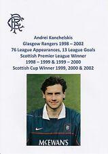 ANDREI KANCHELSKIS GLASGOW RANGERS 1998-02 ORIGINAL SIGNED OFFICIAL RANGERS CARD